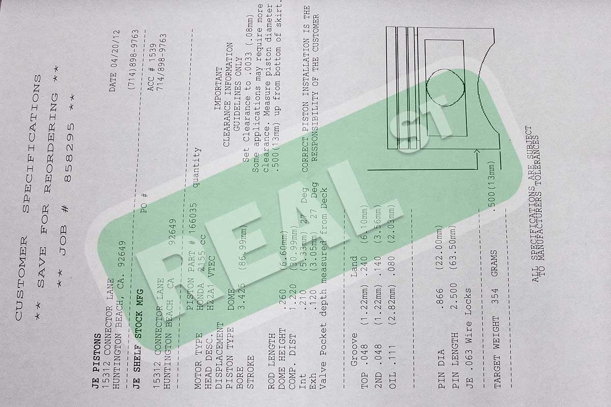 Je Pistons 87mm 1201 H22a1 H22a4 Honda Prelude H22 H22a 166035 Ebay Engine Diagram Description