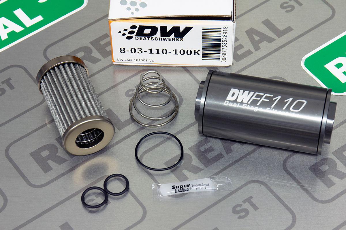 DeatschWerks Stainless Steel 8AN 10 Micron Universal Inline Fuel Filter Housing
