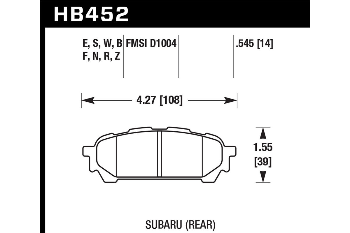 Hawk Blue 9012 Rear Brake Pads for Subaru Impreza WRX 2004